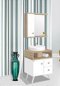 Móvel para banheiro Retrô 60cm / cor: Carvalho/Branco