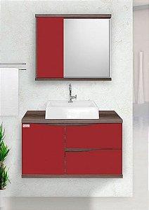 Móvel para banheiro Queen 80cm / cor: Marsala