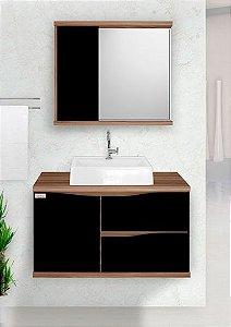 Móvel para banheiro Queen 80cm / cor: Nogal/Preto