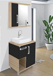 Móvel para banheiro Ibizza 60cm / Carvalho com preto