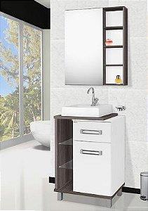 Móvel para banheiro Plazza 60cm Amêndoa/Branco 3 pças