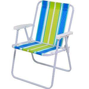 Cadeira Praia Aço Alta - Cores