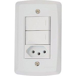 Conj 4X2 - 2 interruptores simples 10A 250V~ + 1 tomada 2P+T 10A 250V~ Cód. 57145073 - Tramontina