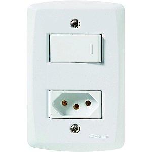 Conj. 4X2 - 1 interruptor simples 10A 250V~ + 1 tomada 2P+T 10A 250V~ Cód. 57145064 - Tramontina