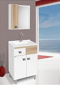 Móveis Para Banheiro Pop 60cm Cor Carvalho/Branco