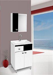 Móvel Para Banheiro Pop 60cm Preto/Branco