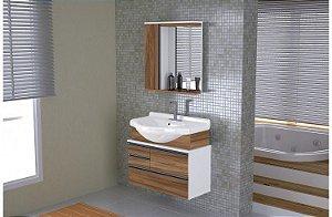 Móvel para Banheiro 83cm Firenze Cor Branco/Nogal