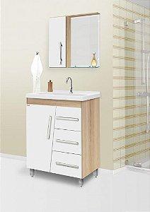 Móvel Para Banheiro 80cm Syrius Cor: Branco/Carvalho