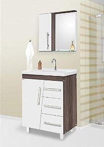 Móvel Para Banheiro 80cm Syrius Cor: Branco/Amêndoa