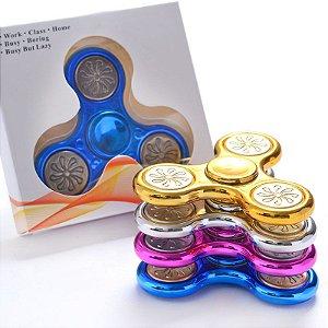 Findget Hand Spinner Toy Anti Stress / Estresse metalizado cromado com luz de led