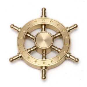 Findget Hand Spinner Toy Anti Stress / Estresse de metal Leme Pirata Dourado
