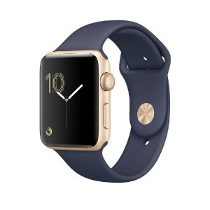 Relógio Apple Watch Sport Series 2 42mm Dourado com pulseira Esportiva Azul meia-noite 8GB - GPS Integrado Resistente a Água