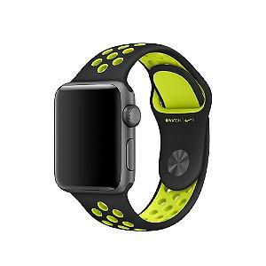 Relógio Apple Watch Nike+ Series 2 42mm Caixa Cinza Espacial de Alumínio com pulseira Esportiva Nike preta/volt  8GB - GPS Integrado Resistente a Água