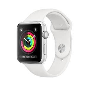 Apple Watch Serie 3 Prata com Pulseira Esportiva Branca, 42 mm, GPS, Wi-Fi, Bluetooth e 8 GB