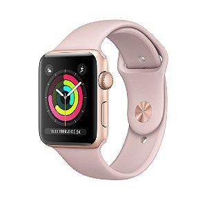 Apple Watch Serie 3 Dourado com Pulseira Esportiva Areia-Rosa, 42 mm, GPS, Wi-Fi, Bluetooth e 8 GB