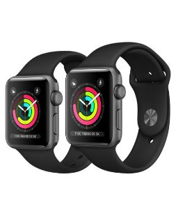 Apple Watch Serie 3 Cinza Espacial com Pulseira Esportiva Preta, 38 mm, GPS, Wi-Fi, Bluetooth e 8 GB