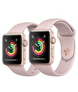 Apple Watch Serie 3 Dourado com Pulseira Esportiva Areia-Rosa, 38 mm, GPS, Wi-Fi, Bluetooth e 8 GB