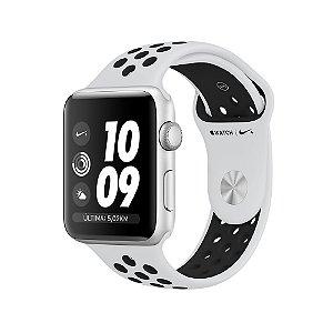 Apple Watch Nike+ 42 mm, GPS, Wi-Fi, 8 GB, Caixa prateada de alumínio com pulseira esportiva Nike platina/preta