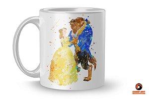 Caneca Disney Aquarela -  Bela e a Fera