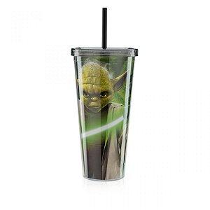 Copo com Canudo 650ml - Star Wars - Força Yoda