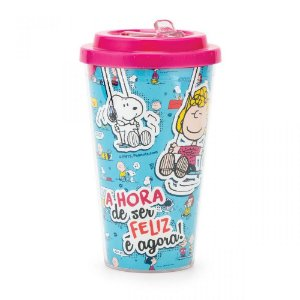 Copo com Canudo Retrátil 450ml - Snoopy - Comics