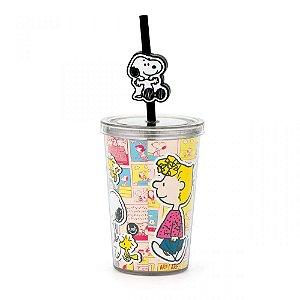 Minicopo com Pingente 280ml - Snoopy - Comics