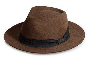 Chapéu Fedora Marrom 100% Lã Clássico Premium Hats