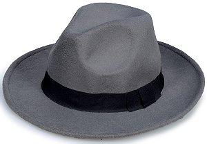 Chapéu Fedora Cinza Feltro Aba Média 7,5cm