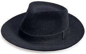 Chapéu Fedora Edição Veludo Preto Aba Média 7cm