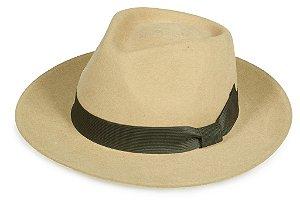 Chapéu Fedora Bege 100% Lã Clássico Premium Hats