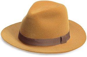 Chapéu Fedora Edição Veludo Caramelo Faixa Marrom