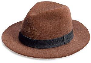 Chapéu Fedora Edição Veludo Marrom Faixa Preta