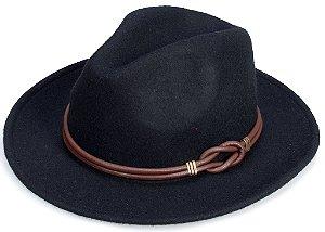 Chapéu Fedora Preto Customizado Faixa de couro Legitimo