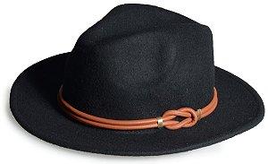 Chapéu Fedora Preto Customizado Faixa de couro Legitimo Caramelo