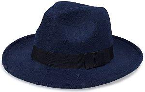 Chapéu Fedora Azul Feltro Aba Média 7,5cm