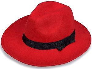Chapéu Fedora Vermelho Feltro Aba Média 7,5cm