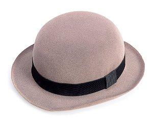 Chapéu Coco Cinza Aba 5cm Edição Veludo