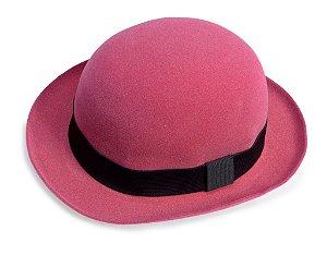 Chapéu Coco Rosa Aba 5cm Edição Veludo