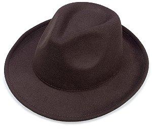 Chapéu Fedora Marrom Aba 6cm