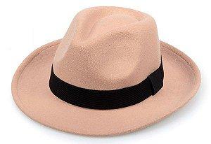 Chapéu Fedora Bege Faixa Preta Aba 6cm