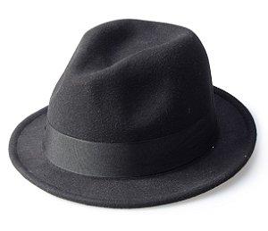 Chapéu Fedora Preto Aba Curta 4cm