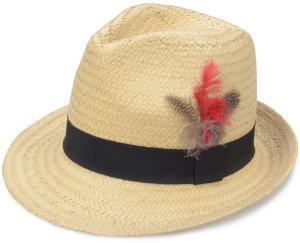 Chapéu Fedora Aba Curta de Palha Sintética Custom