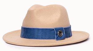Chapéu Fedora Feltro Bege Aba Média 6,5cm faixa Azul Royal - Coleção Veludo