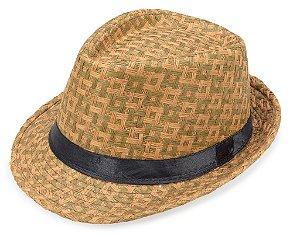 Chapéu Fedora Aba Curta Palha Bege Escuro Quadriculado