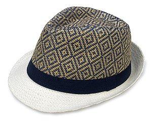Chapéu Fedora Aba Curta Palha Azul e Caramelo