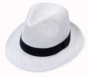 Chapéu Fedora Aba Curta Palha Branco