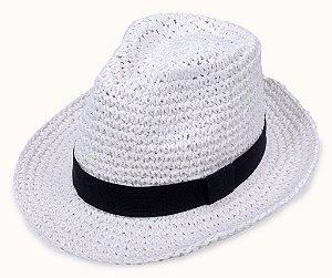 Chapéu Fedora Aba Média Palha Branco