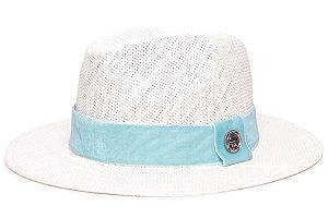 Chapéu Fedora Palha Rígida Creme Aba Média 6,5cm Faixa Azul Turquesa- Coleção Veludo