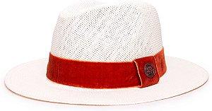 Chapéu Fedora Palha Rígida Creme Aba Média 6,5cm Faixa Caramelo - Coleção Veludo