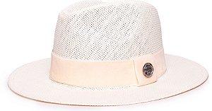 Chapéu Fedora Palha Rígida Creme Aba Média 6,5cm Faixa Creme - Coleção Veludo